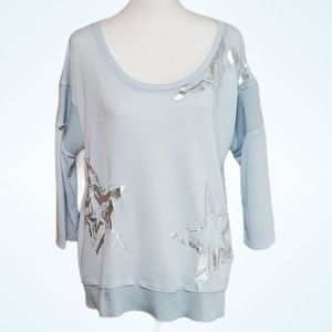 Ambria Blue Knit Tunic with Metallic Silver detail